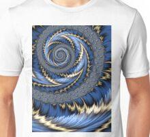 Blue Gold Spiral Abstract Unisex T-Shirt