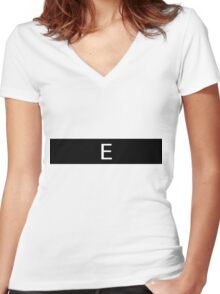 Alphabet Collection - Echo Black Women's Fitted V-Neck T-Shirt