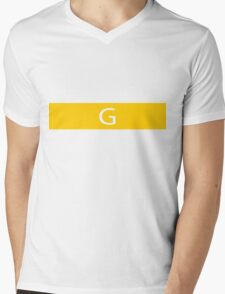 Alphabet Collection - Golf Yellow Mens V-Neck T-Shirt