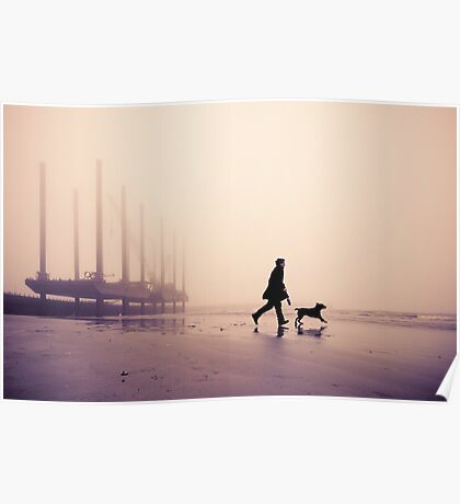 Man and Labrador on the beach at Newhaven, East Sussex Poster