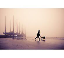 Man and Labrador on the beach at Newhaven, East Sussex Photographic Print