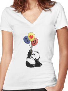 I Love You Panda Women's Fitted V-Neck T-Shirt
