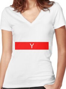 Alphabet Collection - Yankee Red Women's Fitted V-Neck T-Shirt