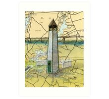 Bethel Bridge Lighthouse MD Nautical Map Cathy Peek Art Print