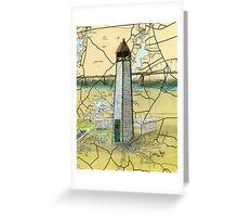 Bethel Bridge Lighthouse MD Nautical Map Cathy Peek Greeting Card