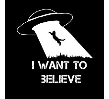 I want to believe - cat abduction Photographic Print