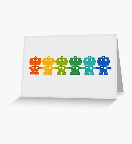 Rainbow Robots holding hands Greeting Card