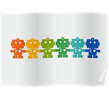Rainbow Robots holding hands Poster