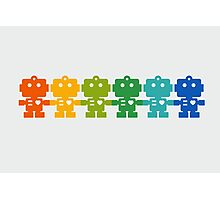 Rainbow Robots holding hands Photographic Print