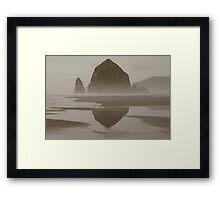 Cloudy Cannon Beach Framed Print