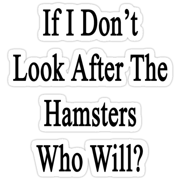 If I Don't Look After The Hamsters Who Will by supernova23