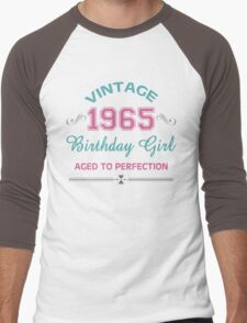 Vintage 1965 Birthday Girl Aged To Perfection Men's Baseball ¾ T-Shirt