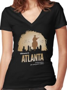 Welcome To Atlanta (brown) Women's Fitted V-Neck T-Shirt
