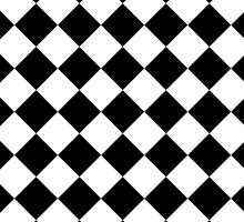Black and White Diagonal Harlequin Diamond Checks by ukedward