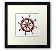 Vintage Ships Wheel Framed Print