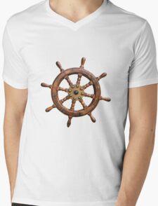 Vintage Ships Wheel Mens V-Neck T-Shirt