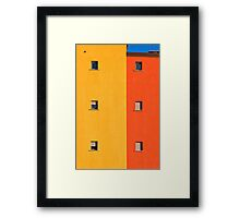 Yellow, orange, blue with windows Framed Print