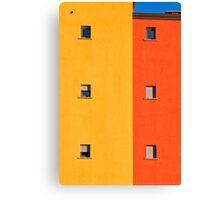 Yellow, orange, blue with windows Canvas Print