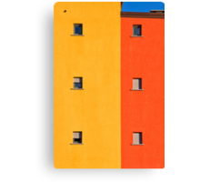 Yellow, orange, blue with windows Canvas Print