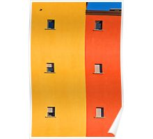 Yellow, orange, blue with windows Poster