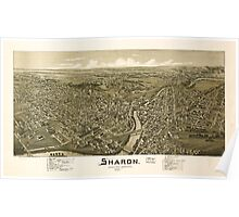 Panoramic Maps Sharon Mercer County Pennsylvania 1901 Poster