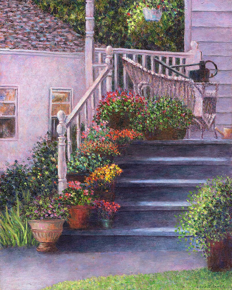 Porch With Watering Cans by Susan Savad