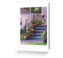 Porch With Watering Cans Greeting Card