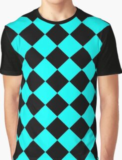 Black and Turquoise Diagonal Harlequin Diamond Checks Graphic T-Shirt