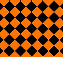 Black and Orange Diagonal Harlequin Diamond Checks by ukedward