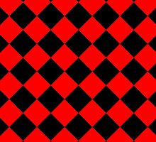Black and Red Diagonal Harlequin Diamond Checks by ukedward