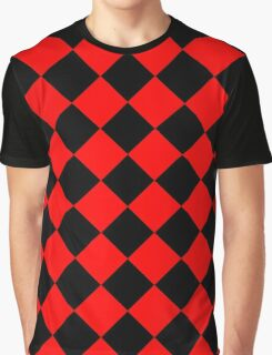 Black and Red Diagonal Harlequin Diamond Checks Graphic T-Shirt