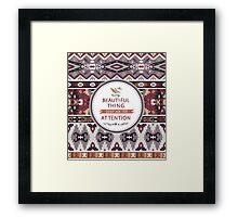 Decorative geometric pattern in tribal style Framed Print