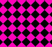 Black and Pink Diagonal Harlequin Diamond Checks by ukedward