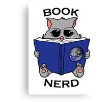 Book nerd - cat reading up on world domination Canvas Print