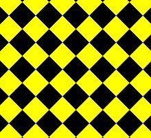 Black and Yellow Diagonal Harlequin Diamond Checks by ukedward