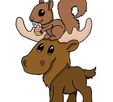 Moose, squirrel and cupcake by spectralstories
