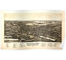 Panoramic Maps Bellevue Ohio Sandusky Huron counties 1888 Poster