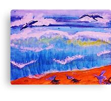 Sea gulls and the waves, watercolor Canvas Print