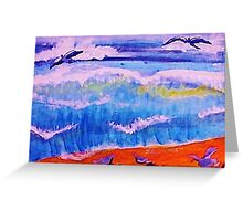 Sea gulls and the waves, watercolor Greeting Card