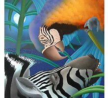 Zebra and Parrot by Junga