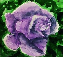 Dramatic Lavender rose, watercolor by Anna  Lewis, blind artist