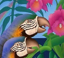 Parrot and Catelya Orchid by Junga