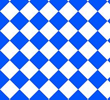 White and Blue Diagonal Harlequin Diamond Checks by ukedward