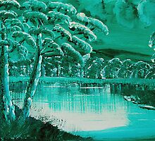 Green and white landscape by kreativekate