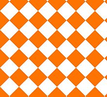 White and Orange Diagonal Harlequin Diamond Checks by ukedward