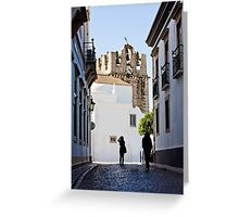 historical street with tourists Greeting Card