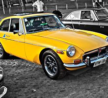 Yellow MG B GT by Ferenghi