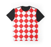 White and Red Diagonal Harlequin Diamond Checks Graphic T-Shirt