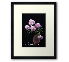 Still life with beautiful pink  peonies  Framed Print