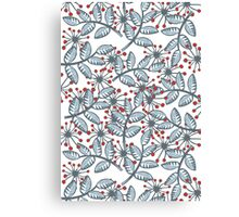 red flowers & blue leaves on white Canvas Print
